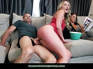 Horny Nubile Rides Stepdad While Mom Watches A Movie