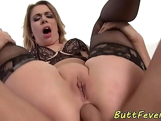Dicksucking babe assfucked in stockings
