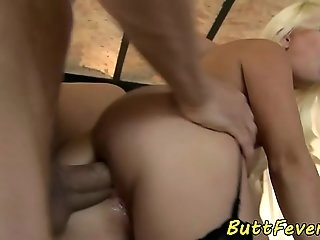 Stockings eurobabe ass-fucked and ass jizzed
