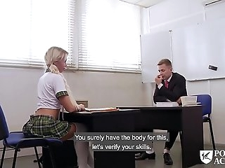 PORNO ACADEMIE - Super-steamy school girl Lara Sins gives footjob and gets boinked deep