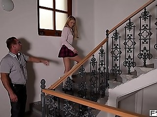 Schoolgirl Lucy Heart rides teacher's & principal's fuck-sticks in XXX threesome