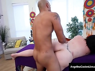 Curvy Cuban BBW Angelina Castro Fondled By Ginormous Dark-hued Cock!