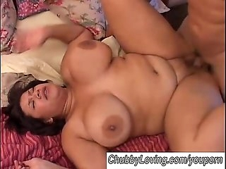 Beautiful big mounds BBW brunette boinked